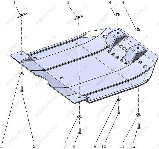 Крепления передней части защиты.  Схема установки защиты картера на Fiat Bravo.