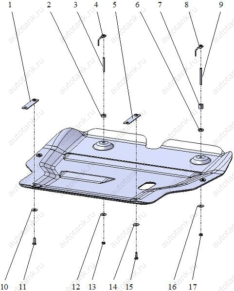 Схема установки защиты картера на Hyundai Sonata.